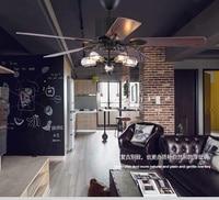 Loft industrial fan chandelier vintage restaurant quiet home LED remote control fan chandelier fan light with remote control