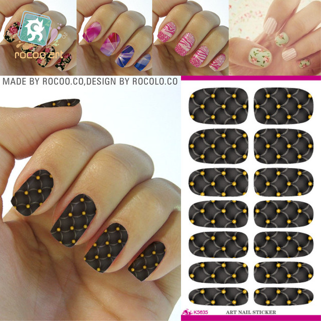 2018 Nails The New Second Generation Korean Makeup Water Shift Golden Nail Stickers K5635 Manicure Fabric
