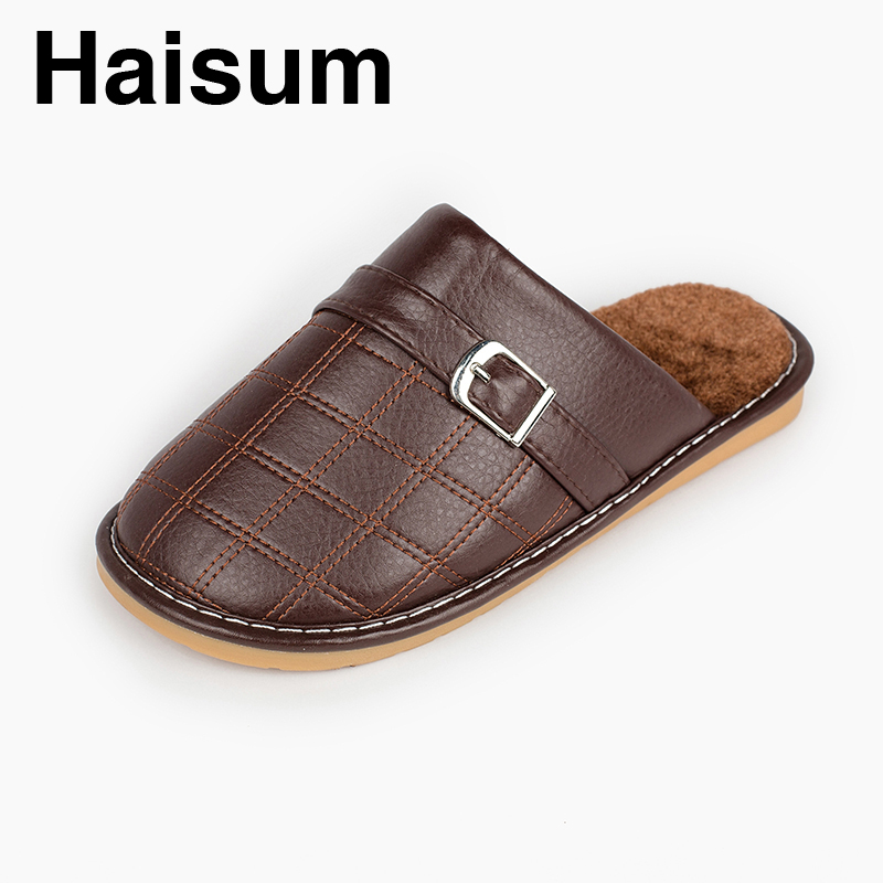 Men 's Slippers Winter genuine Leather Home Indoor Non - Slip Thermal Slippers 2018 New Hot Haisum H-8008 men s slippers winter pu leather home indoor non slip thermal slippers 2018 new hot haisum h 8007
