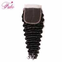 Fabc Hair Deep Wave Closure Middle Part Lace Closure 10 20 100 Remy Human Hair Swiss