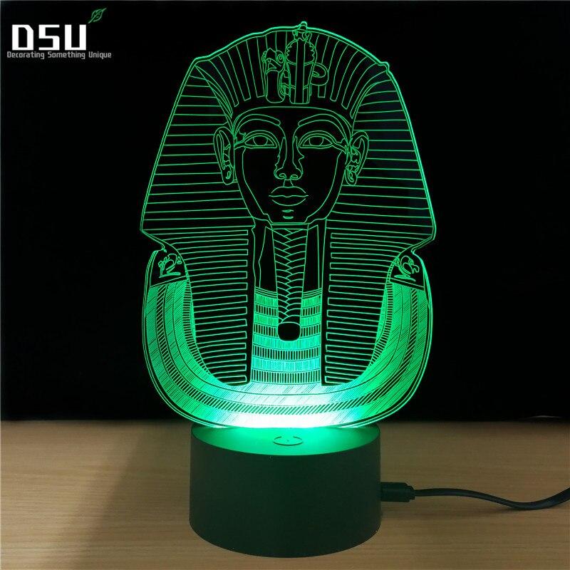 3D Illusion LED 7 color change Egypt Pharaoh Shape Night light USB touch light Table Lamp For Party Children Bedroom