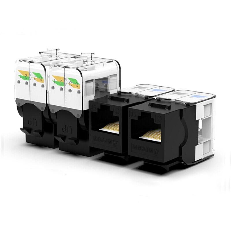 CAT6/CAT5e инструмент меньше трапецеидальное гнездо, AMPCOM RJ45 UTP Keystone модуль адаптера без Пробивной требуется инструмент муфты-1/2/10 шт. в комплекте - Цвет: CAT5e  Black