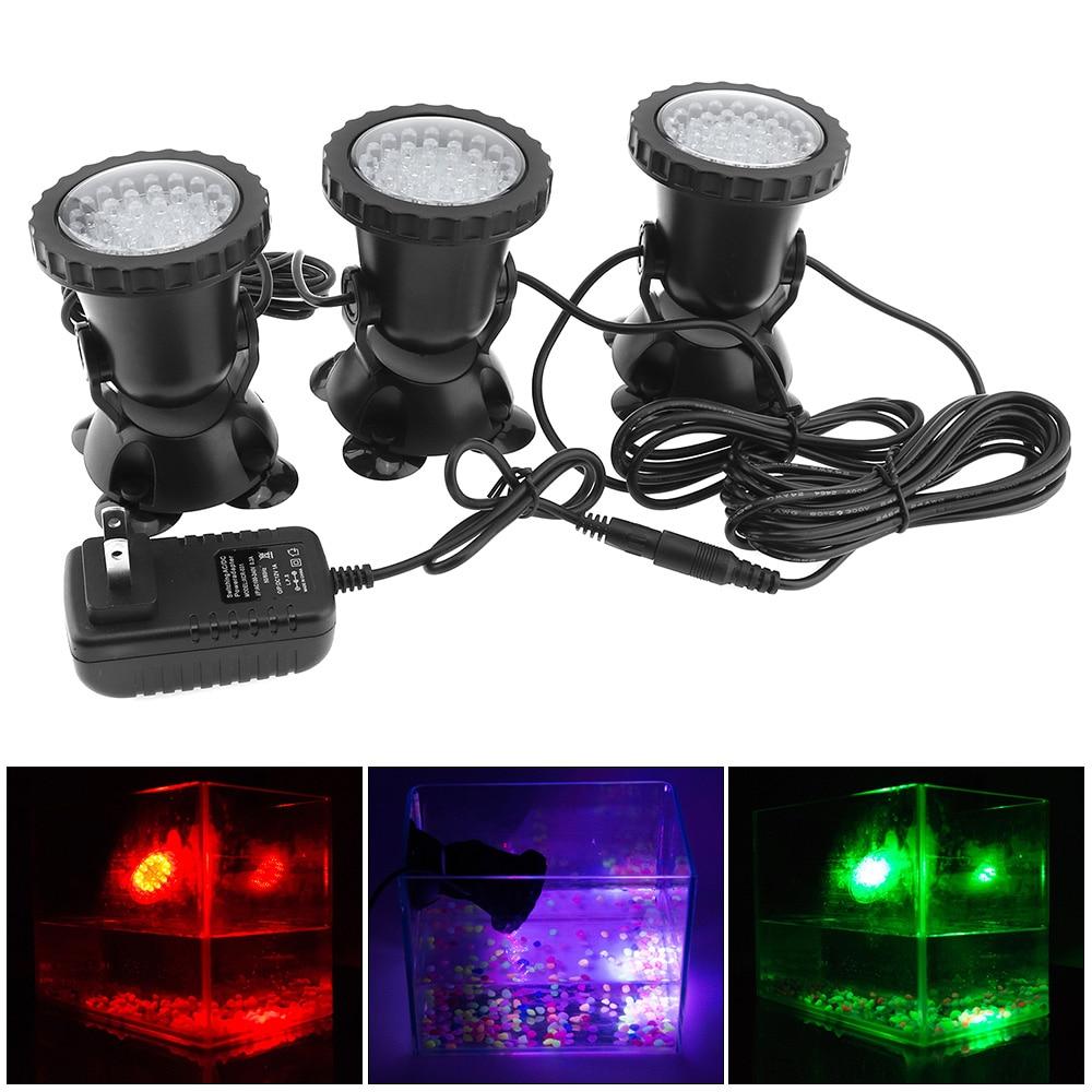 3pcs/lot 12V LED Underwater Spotlight Lamp Color Changing Waterproof Spot Light for Garden Fountain Fish Tank Pool Pond Aquarium title=