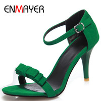 ENMAYER High Heels Sandals Pumps Shoes Woman Open Toe Bowties Charms Large Size 34 47 Black Green Purple Ladies Shoes
