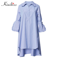 Kinikiss Autumn New Casual Loose Shirt Dress Women Girls Sweet Young Ruffles Shirt Dress Long Sleeve