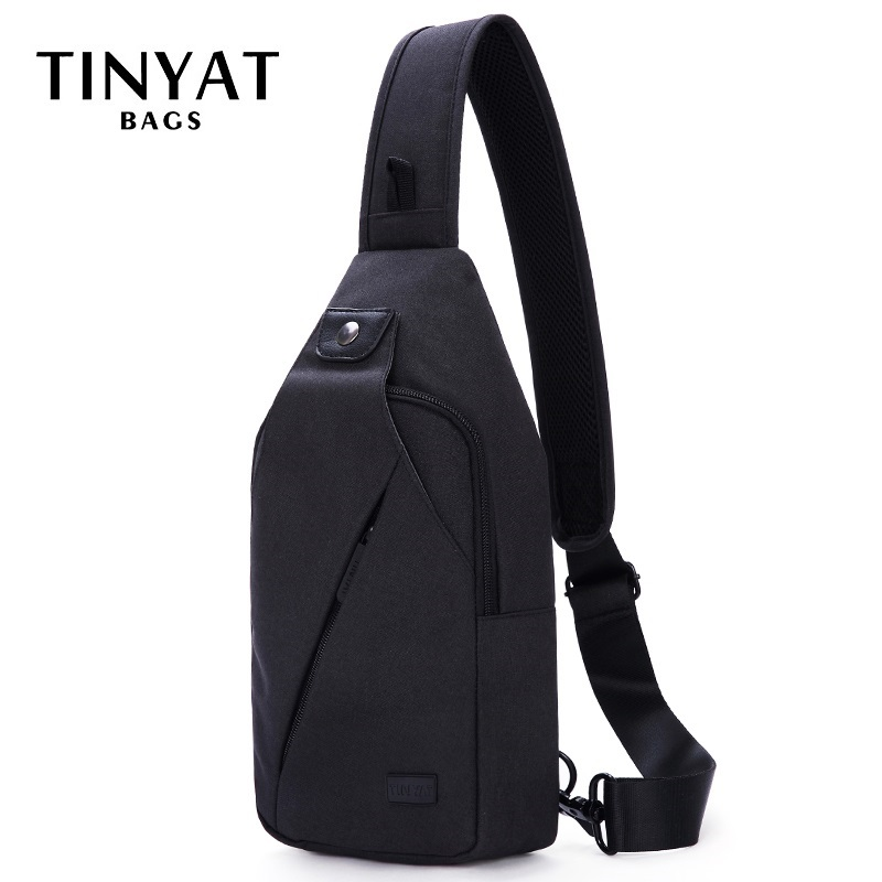 TINYAT Sling bag For 7.9 pad Black Casual Functional Men Chest Bag Pack dual earphone jack Men Shoulder Messenger Bags Pack Bag