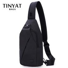 TINYAT Sling bag For 7.9 pad Black Casual Functional Men Chest Bag Pack dual earphone jack Men Shoulder Messenger Bags Pack Bag