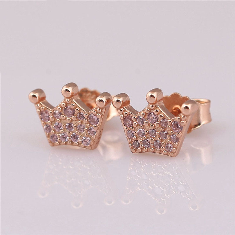 Trendy New 925 Sterling Silver Branded Earrings For Women Rose Pink Enchanted Crown Earring Studs Fine Branded Jewelry Original in Stud Earrings from Jewelry Accessories