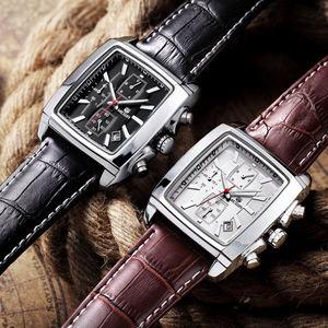 Image 3 - MEGIR Top Marke Luxus Männer der Mode Rechteck Uhr Einzigartige Gravierte Zifferblatt Military Sport Uhren Relogio Masculino Esportivo