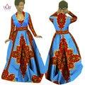BRW Весна Африканских Воск Печати Платья Традиционный Плюс Размер Африканские Одежды для Женщин Dashiki Полный Рукав Длинный Базен Dress WY029