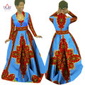 Brw primavera vestidos estampados de cera africana tradicional plus tamaño ropa para mujeres dashiki africano bazin completo de manga larga dress wy029