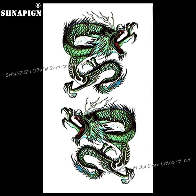 Bleu Dragon Chinois Art Corporel De Tatouage Temporaire Bras