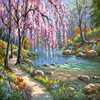 Framless Hand Painted DIY Oil Painting By Numbers Kits Drawing Paint On Canvas Romantic Stream Oil