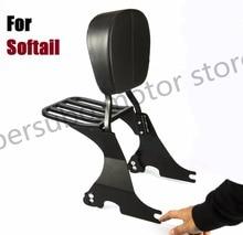 Черная короткая спинка с сишиной + багажная стойка для Harley Softail Спрингера Heritage Fat Boy flstf