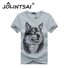 Brand Clothing Cotton Wolf 3D Print T shirt Men 2017 Summer Style New Arrvial Funny T-shirt Wolf Man's T-shirt Fitness Tops