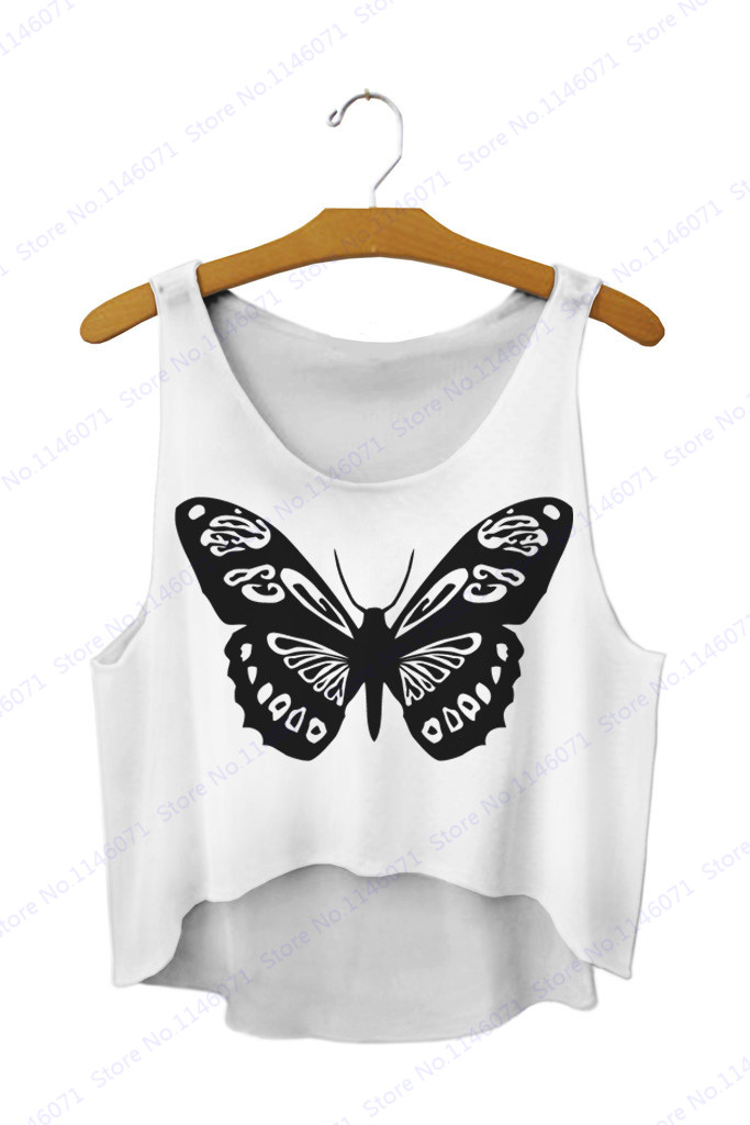 16660518 Black Butterfly Tank Top Loose Blouses Sleeveless Camis Crop Sports Vest  Summer Women Sexy 3D Print Cute Yoga Shirts Singlets