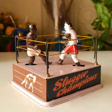 Classic Big Boxing Ring Tinplate Clockwork Toy Vintage Squared Circle Tin Wind Up Toys Handmade Crafts