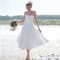 Women 2016 Custom Strapless White Knee Length Bridal Dresses Vestido De Noiva Cheap Beach Short Wedding