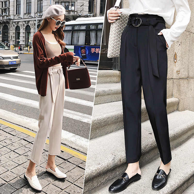 Solid Color Belt High Waist Straight Women Trousers Pipe Trunks Female Foot Loose Casual Pants Nine Minutes Of Pants