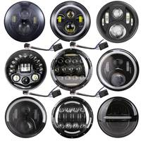 For Motorcycle 7 Inch H4 LED Headlight With Angle Eyes 7 Round Headlamp Hi/Lo Beam For Lada 4x4 Urban Niva Suzuki