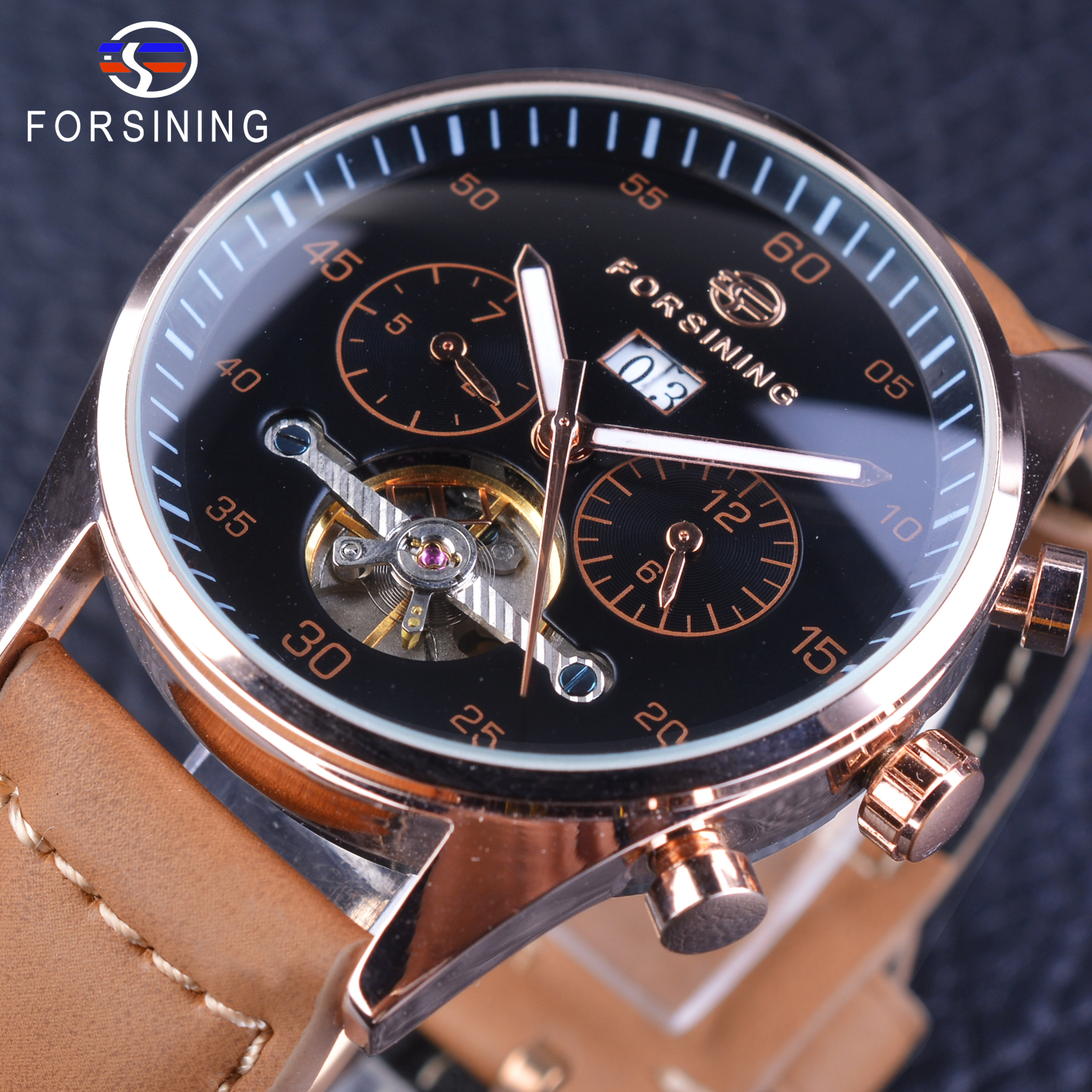 Forsining Mens Watches Top Brand Luxury Automatic Mechanical Multi-functional 2 Dial Tourbillion Watch Brown Genuine Leather цена