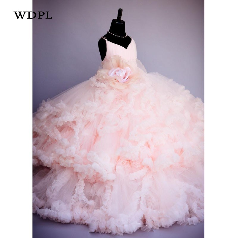 Pink   Flower     Girl     Dresses   For Wedding Appliques   Girls   Pageant Gowns Tulle Children Birthday Party   Dress   Princess Custom Made