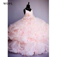 Rosa Blumenmädchenkleider Für Hochzeit Appliques Mädchen Pageant Kleider Tüll Kinder Geburtstagsparty Kleid Prinzessin Nach Maß