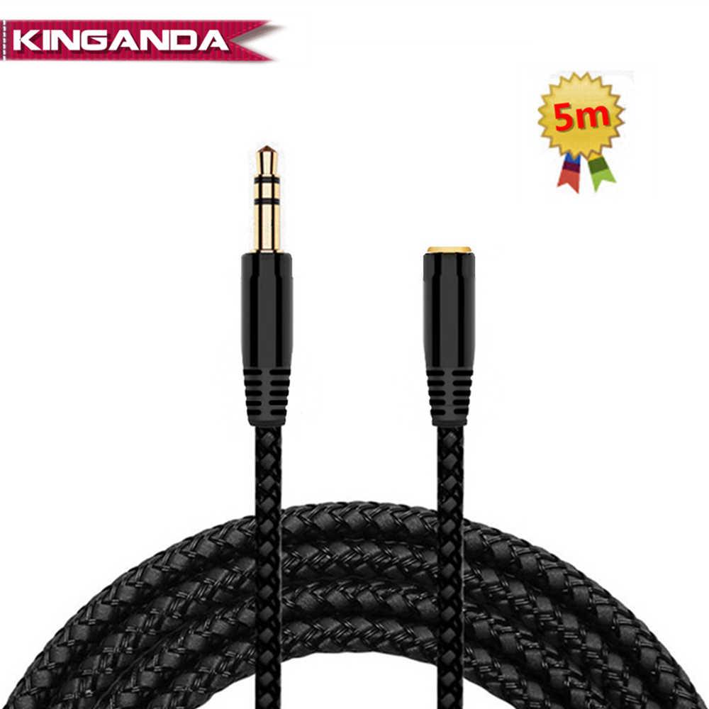 5 м 16 футов Удлинительный кабель для наушников 3,5 мм разъем для мужчин и женщин AUX кабель m/F аудио стерео Удлинитель проводной наушник 3,5 мм тканевый кабель