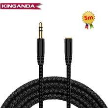 Cable de extensión de auriculares de 5m y 16 pies conector de 3,5mm, hembra macho a Cable auxiliar, adaptador de extensor de Audio M/F, Cable de Cable para PS4 TV