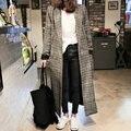 H. SA Женщин длинные пальто Зимняя куртка женская Смеси шерстяные теплое пальто femininos плюс размер дамы Весна Плед Шерстяной пальто