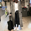 H.SA Women long coats Winter jacket female Blends woolen warm overcoat femininos plus size ladies Spring Plaid Woolen Coat