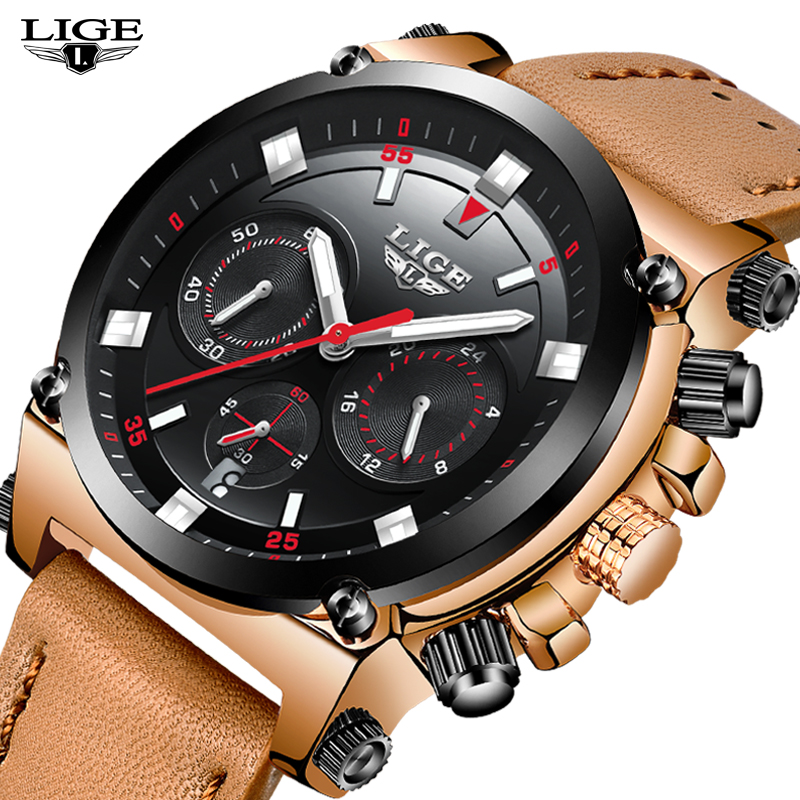 LIGE NEW Watch Men Sport quartz wristwatches Leather Mens Watches Top Brand Luxury Waterproof Business Watch Relogio Masculino new chenxi clock watches men top brand luxury mens leather wristwatches men s quartz popular sports watch relogio masculino