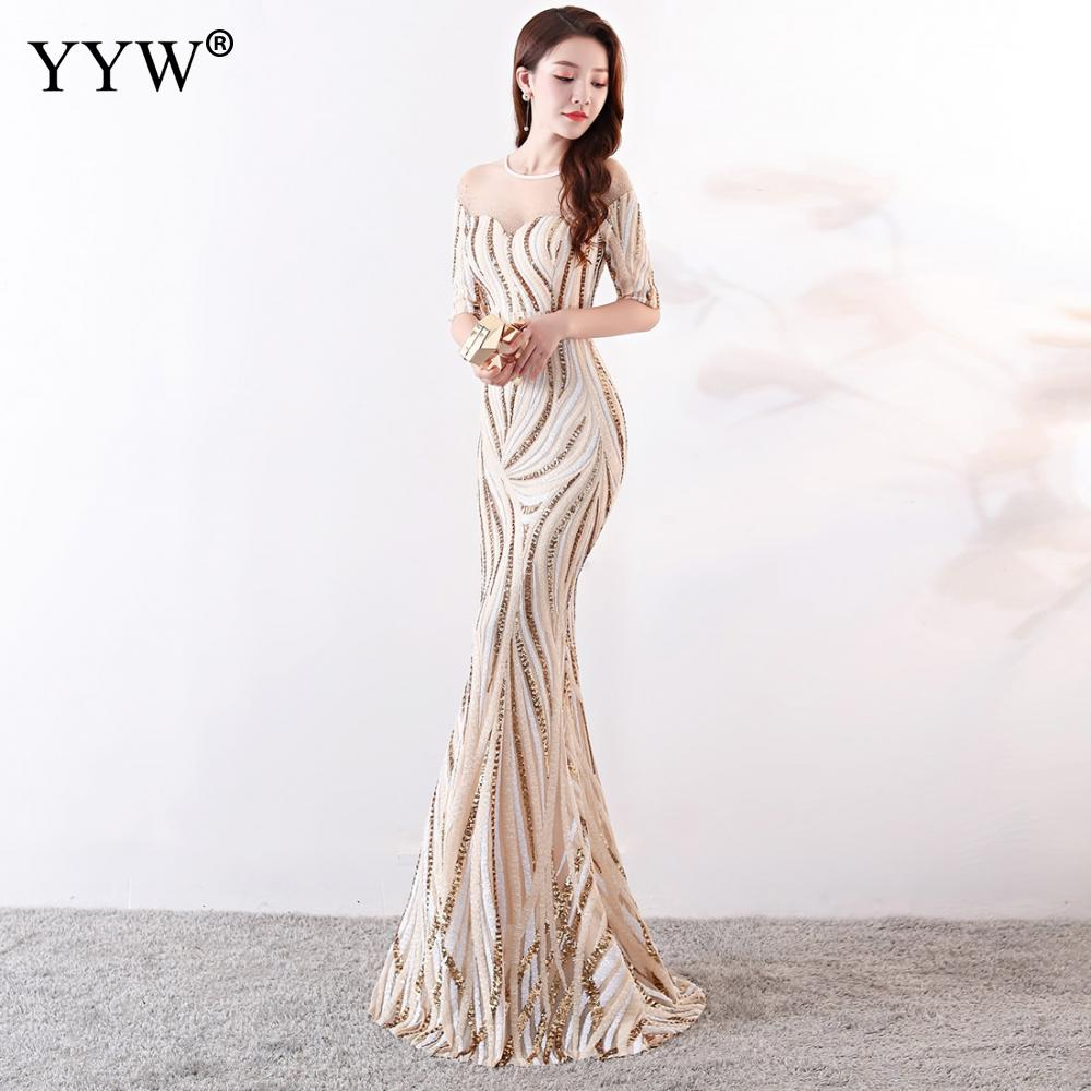 Image 5 - Crystal O Neck Striped Sequined Mermaid Long Dresses Elegant Half  Sleeve Illusion Backless Party Formal Gowns Ladies Maxi DressEvening  Dresses