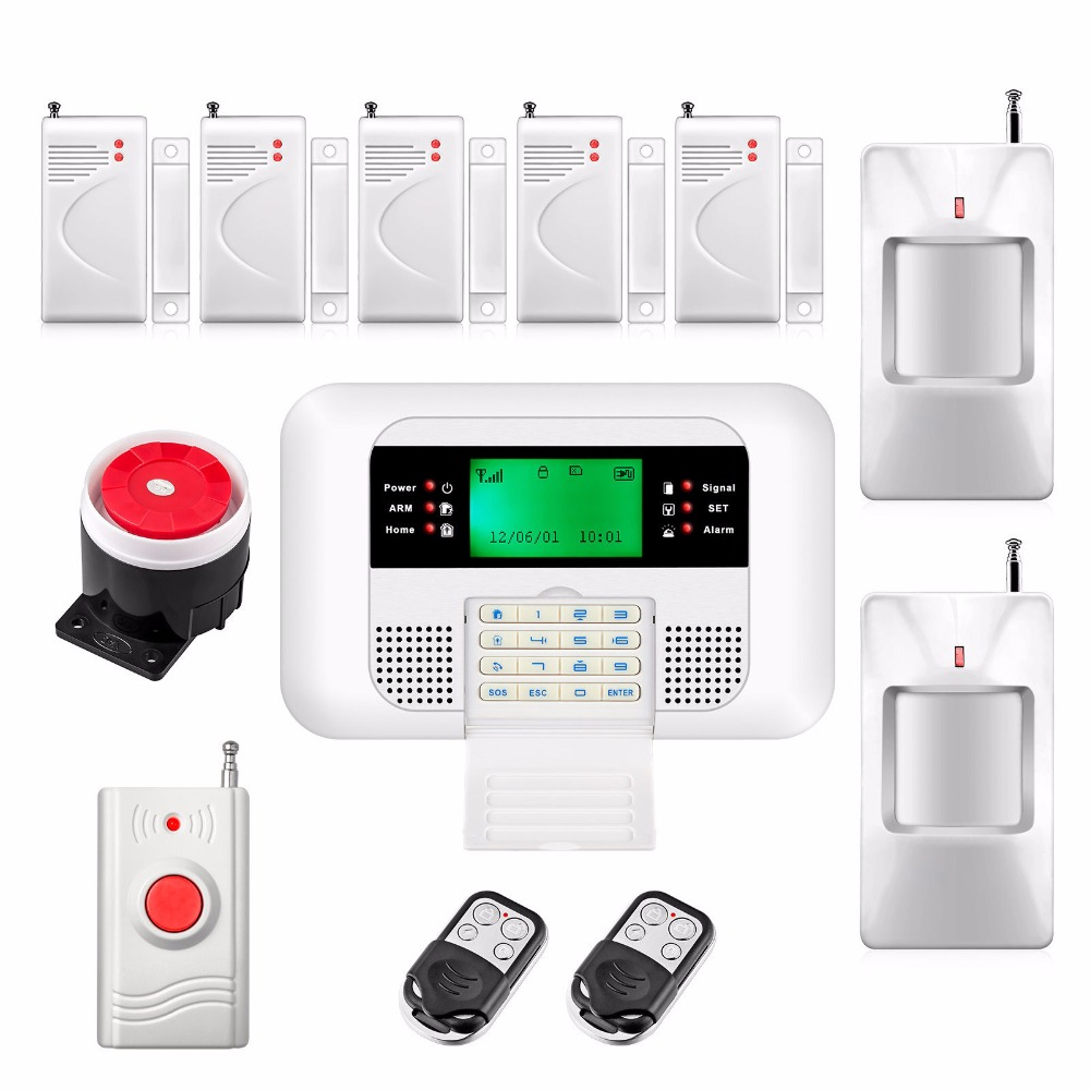 Cheap LCD Keyboard 433MHz GSM PSTN Home Security Alarm System Russian Spanish English Voice Door Window Gap Sensor Detector Kit