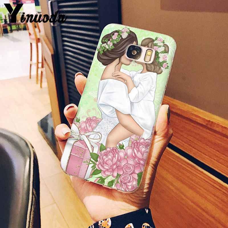 Yinuoda Đen Nâu Tóc Bé Mẹ Cô Gái Nữ Hoàng Thông Minh Bìa Shell Điện Thoại Trường Hợp đối Với Samsung S9 S9 Cộng Với S8 S8plus s7 S6 S5 Điện Thoại Di Động