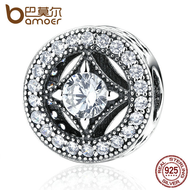 BAMOER Original 925 Sterling Silver Round Shape Clearly CZ AAA Zircon Charms Fit