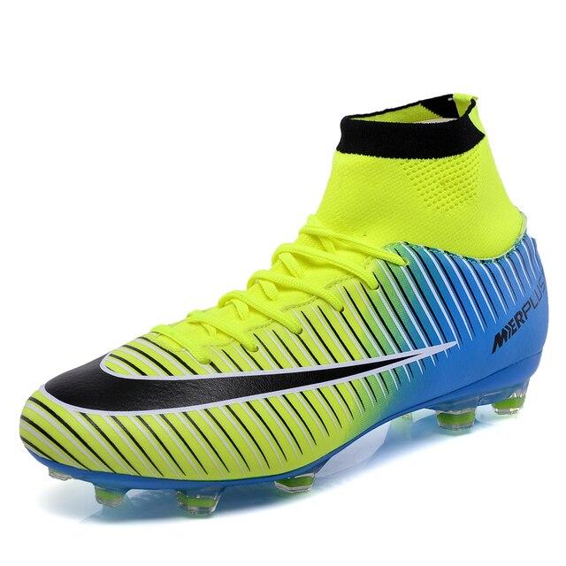 c0f77bbcd5 Sufei Homens Alto Tornozelo Botas de Futebol FG Futebol Outdoor Shoes  Superfly Pico Profissional Chuteiras De