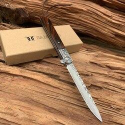 Neue SAMSEND natürliche rote sandelholz Damaskus Tasche Messer VG10 Multifuntion Werkzeuge Wandern Camping Folding Messer Sammlung werkzeug