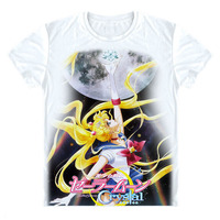 Anime Sailor Moon Camiseta T-Shirt 2017 Nueva Marinero Tsukino Usagi luna de cristal t shirt lindo kawaii unisex clothing divertido corto tee