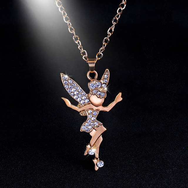 Cute fairy angel pendant necklace gold chain long crystal necklaces cute fairy angel pendant necklace gold chain long crystal necklaces pendants for women girls christmas gifts aloadofball Gallery