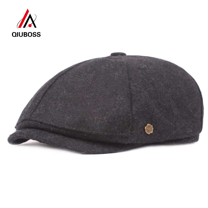 QIUBOSS Autumn Winter Wool Felt Newsboy Caps Men Beret Old Man Retro Octagonal Cap Art Youth Casquette Male Trilby QB44
