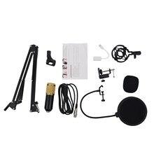 BM800 Microfone Condensador de Estúdio Kit Suspensão Lança Scissor Braço Placa de Som Preto