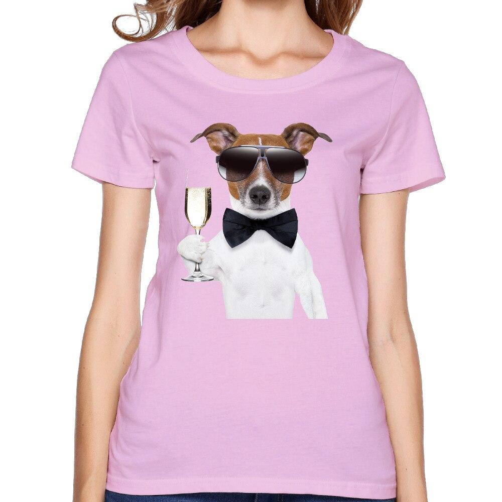 Забавный мультфильм питьевой собака Персонализированные хлопок с О-образным вырезом Короткие розовые футболки дамы 2017 свободные хип-хоп Т...