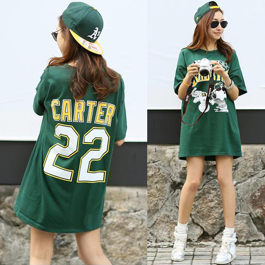 2017 Summer Tops Cartoon Numbers Women Clothing Letter Printed Harajuku T Shirt Green Female T-shirt Loose Cotton Femme Tees
