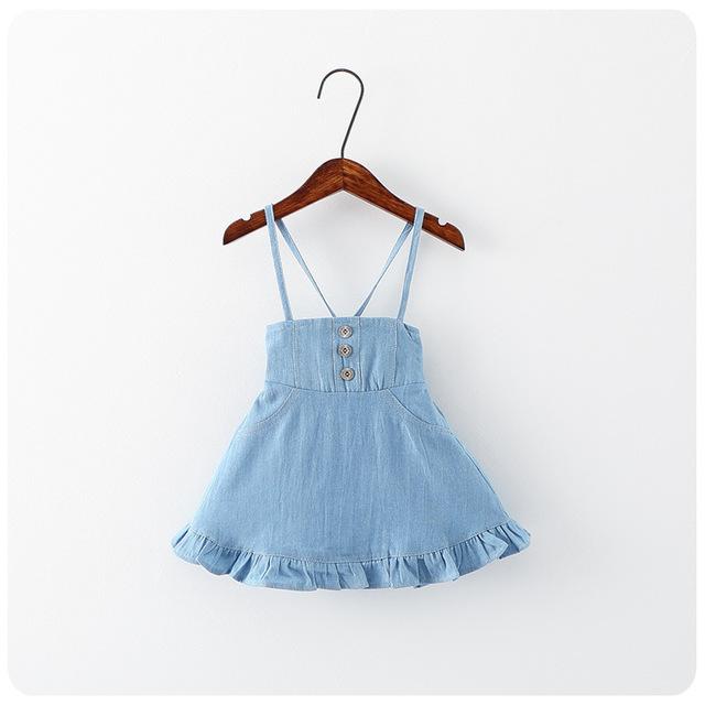 2016 verão nove meninas do bebê denim 2 cor azul vestidos crianças traje roupas infantis menina terno 2 - 7 T crianças robe fille