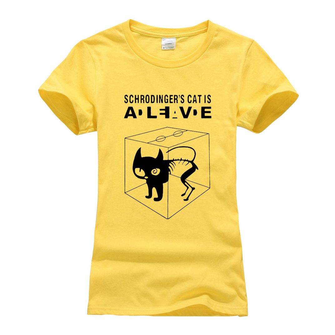 Women Funny Schrodinger's Cat T-shirts Casual 2019 Summer The Big Bang Theory T Shirt Cotton Short Sleeve Tshirts Femme Camiseta