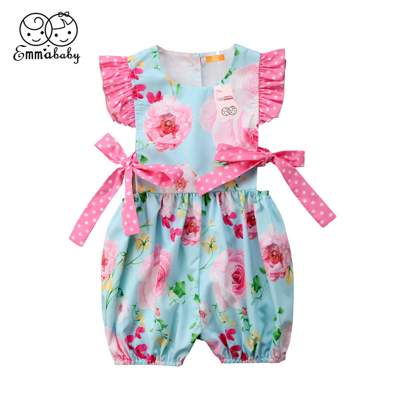Newborn Baby Girls Cotton Romper 2018 Summer Infant Floral Printed Romper Bebes Sleeveless Jumpsuit Baby Clothing Outfits 0-24M