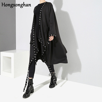 Hongosonghan 2018 autumn and winter new large size full sleeve pleated Ribbons with steel ring ladies black X long trench coat
