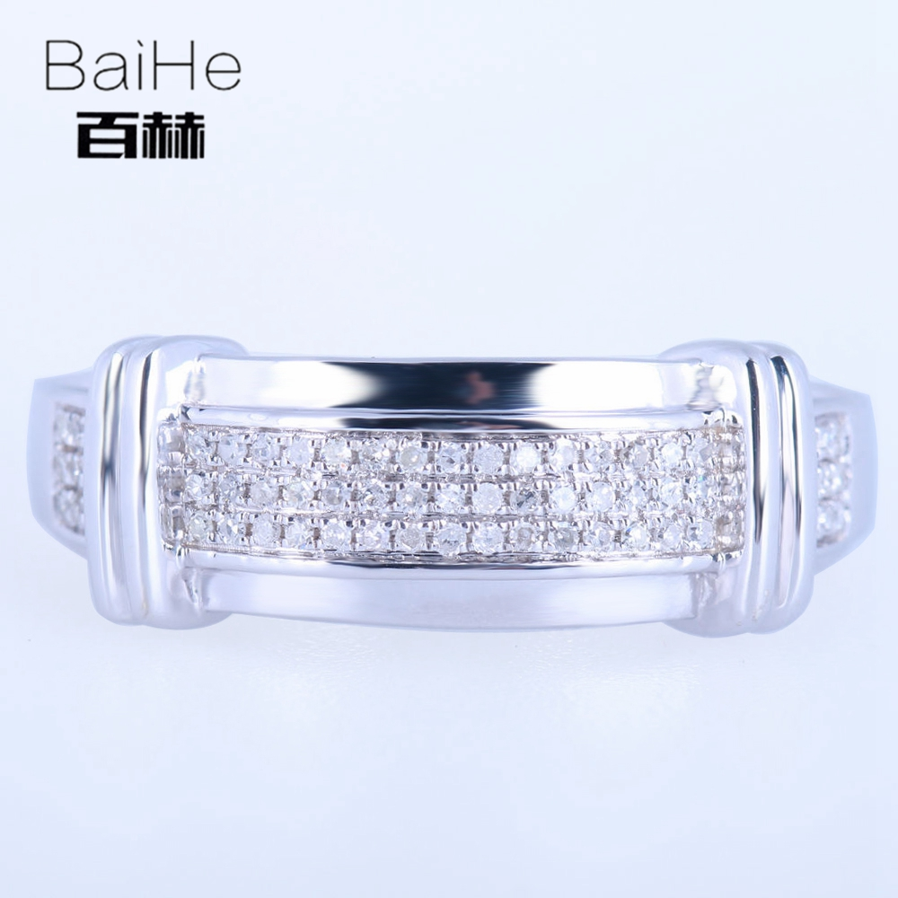 BAIHE Стерлинговое Серебро 925 0.25CT Сертифицированный H/SI круглый вырез 100% натуральные Алмазы обручальные мужские модные ювелирные изделия коль