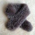 100 см серый натурального меха шарф женщины Вертикальная полоса настоящее silver fox меховые шарфы глушитель унисекс мыс